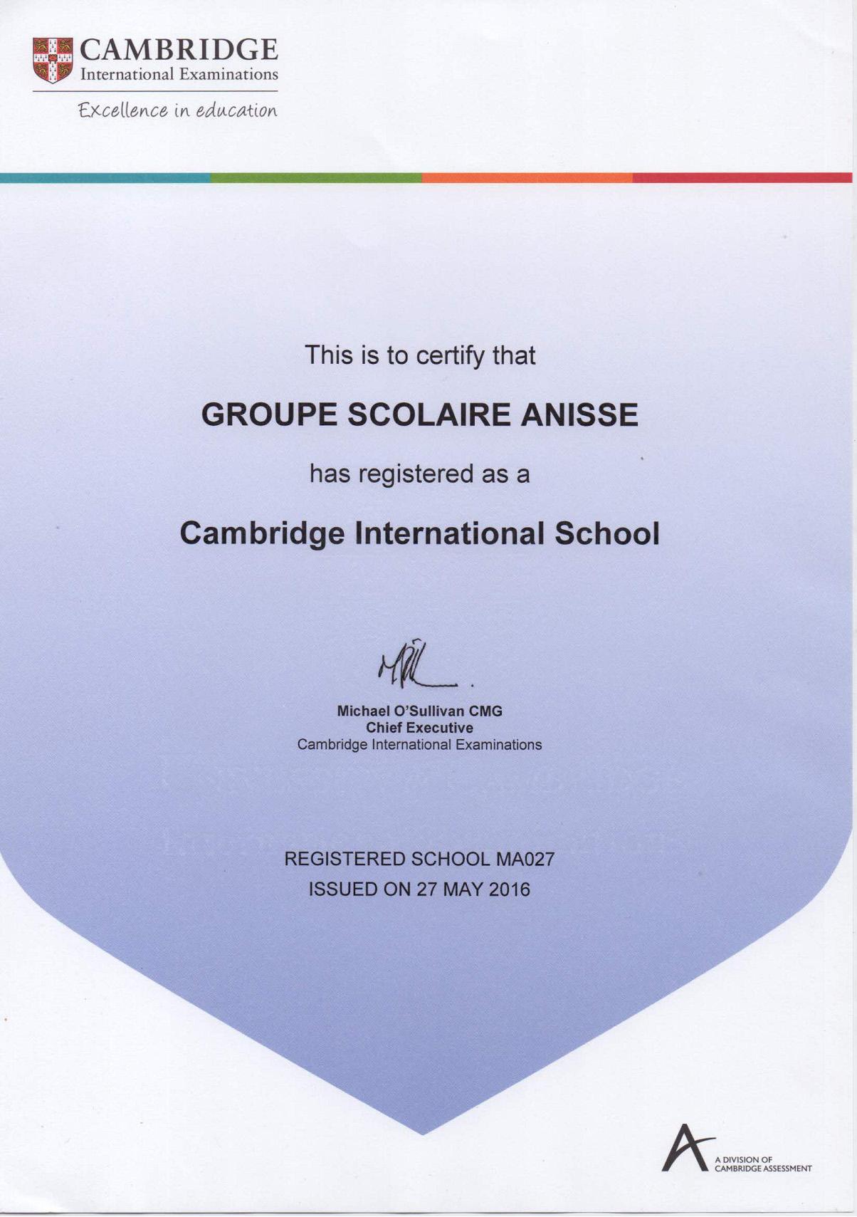 Gsa cambridge International Examinations