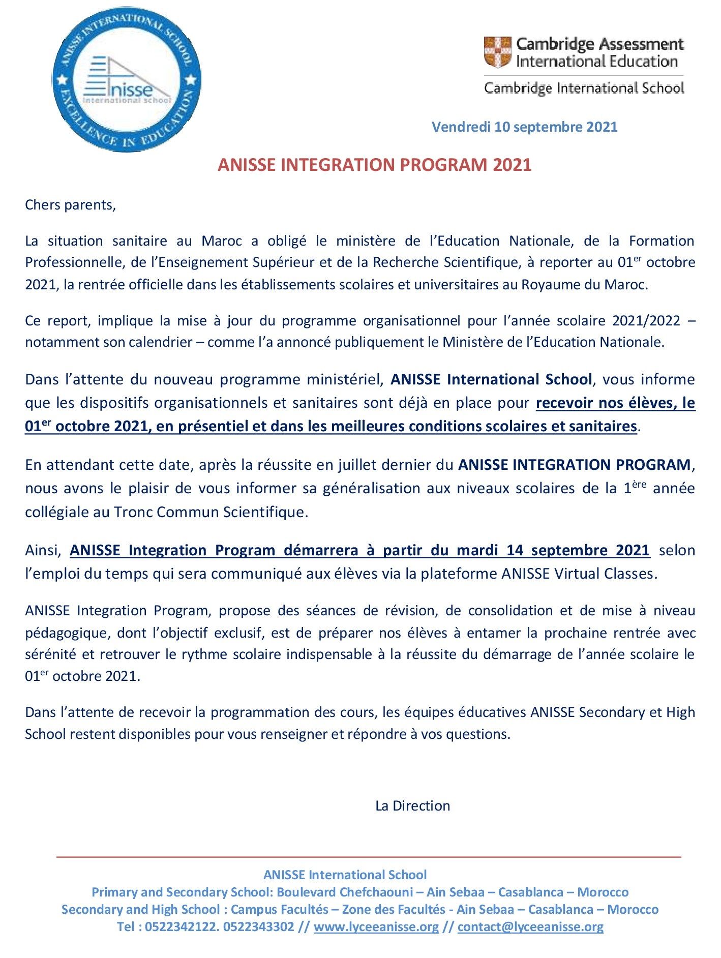 ANISSE INTEGRATION PROGRAM 2021