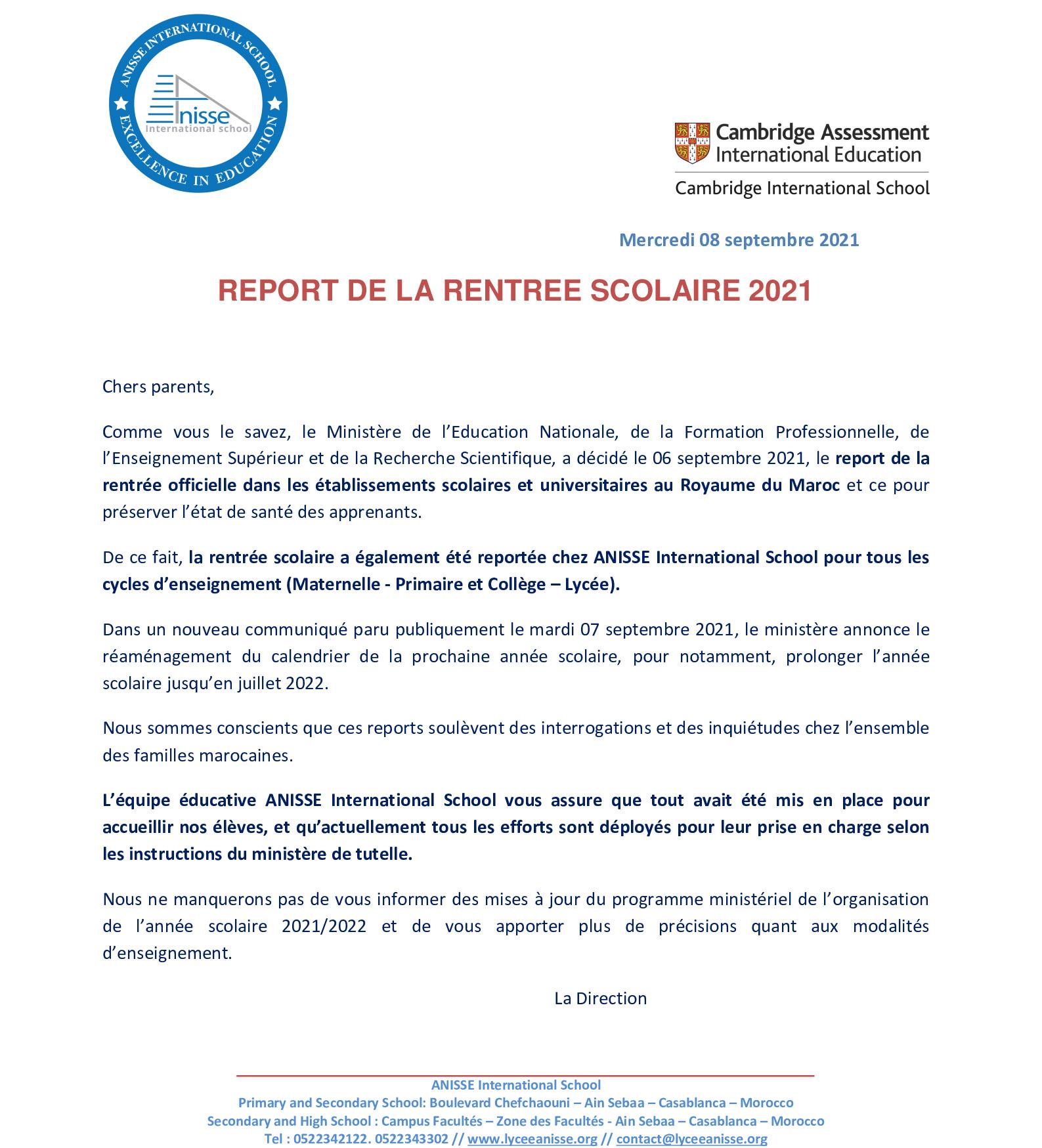 REPORT RENTREE SCOLAIRE OCTOBRE 2021